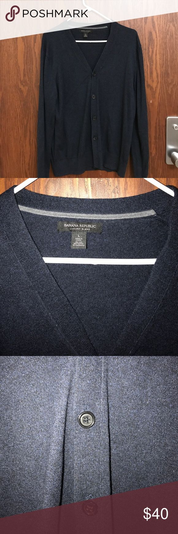 Blue Banana Republic Cardigan This is a great 75% silk, 25% cotton and 5% cashmere cardigan that's a large from BR. It's definitely a slimmer fit but a great fit for those guys looking for not a giant cardigan but not one too tight. Worn only twice, cardigans aren't for me Banana Republic Sweaters Cardigan