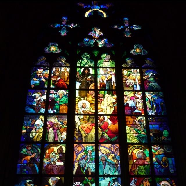 Mucha Art Nouveau stained glass window, Prague
