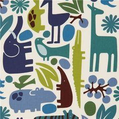 white zoo animal fabric elephant Alexander Henry blue 1