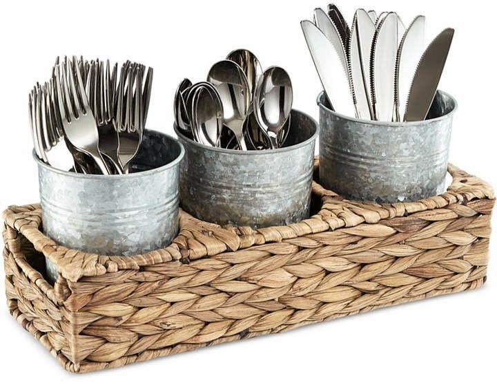 Rustic flatware caddy with galvanized flatware holder and woven basket. #rustic #rusticfarmhouse #farmhouse  #ad #flatware