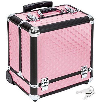 TecTake Maleta aluminio para cosméticos Maletín para maquillaje joyería Trolley con Varias Divisiones con ruedas rosa