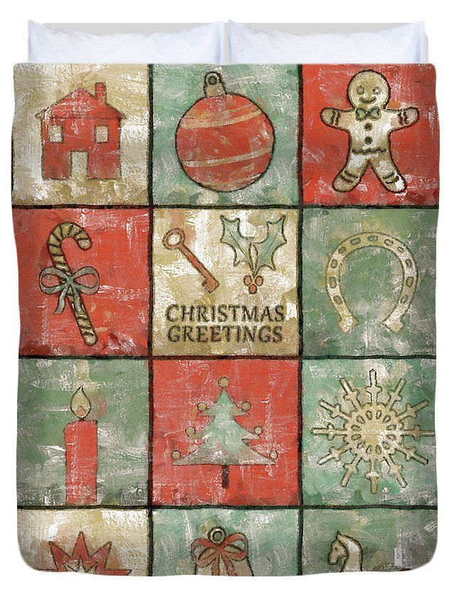 Christmas Duvet Cover featuring the painting Vintage Christmas Greetings by Grigorios Moraitis