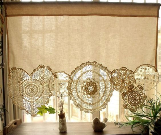 BOHO Vintage Crochet Doilies Shabby Chic French Country Window Cafe Curtain Vintage Lace Cream