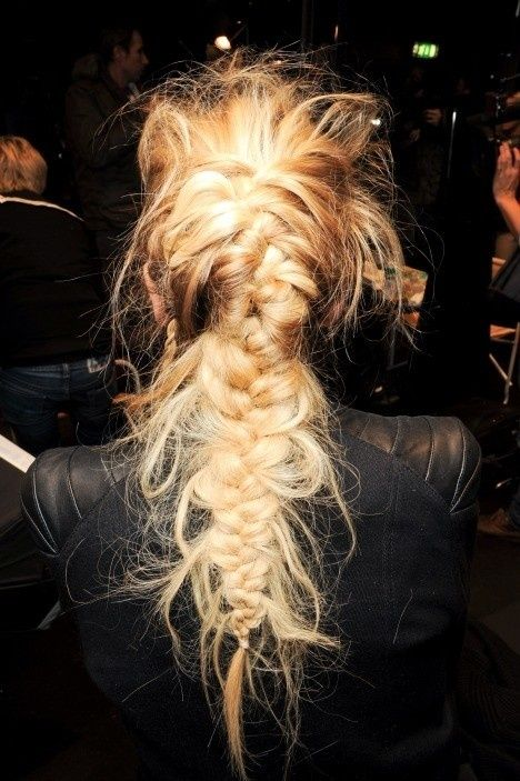 Long Messy Braided Blonde Hairstyle