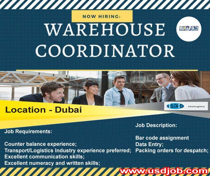 Warehouse Coordinator Jobs In Dubai Coordinator Job Logistics Transportation Dubai