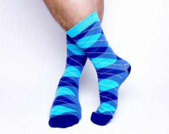 Blue Argyle Socks. Mens Socks. Blue Dress Socks. Mens Diamond ...