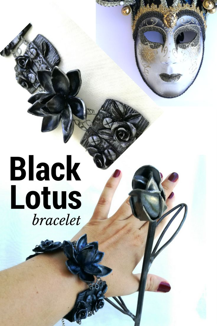 Black bracelet is a unusual piece of jewelry. Made by hand of quality polymer clay Imitation flowers lotus and roses of metal makes bracelet a little romantic and gothic, Great for gift giving!