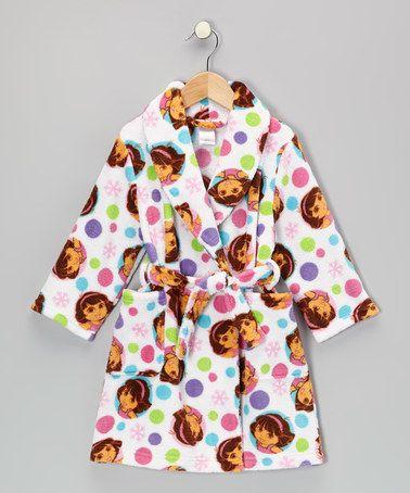 Take a look at this Rainbow Polka Dot Dora Plush Robe ...