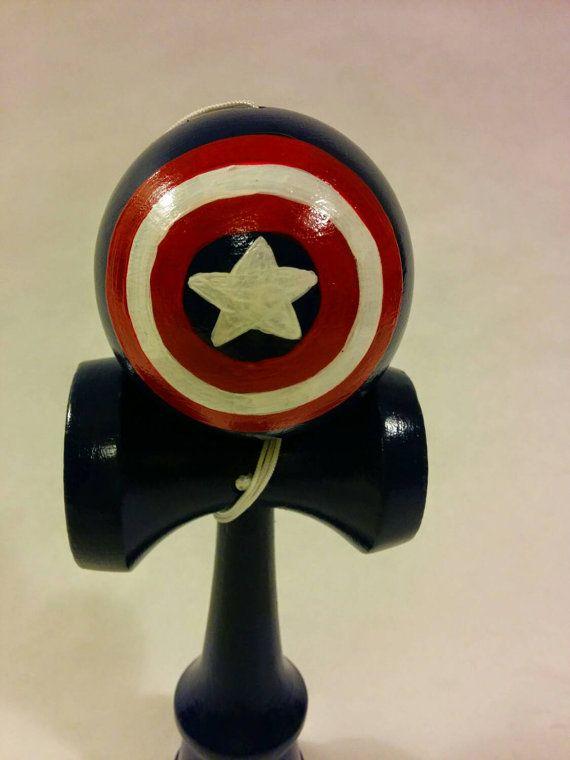 Hand painted Captain America kendama