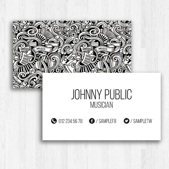 Music business card template Visiting card for musician by desiqus