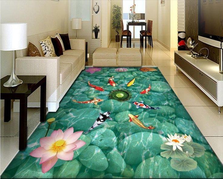 (48.98$)  Buy here - http://aim41.worlditems.win/all/product.php?id=32728895979 - Custom 3D flooring wallpaper pink lotus vinyl flooring adhesive waterproof wear non-slip 3d floor art