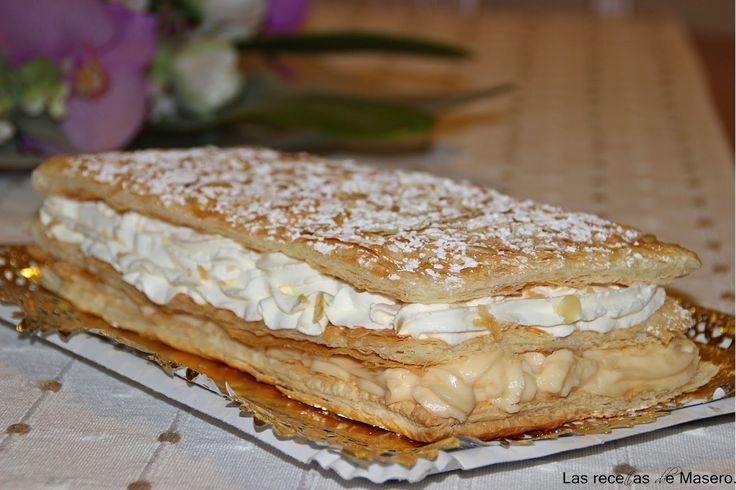 Milhojas de crema pastelera y nata