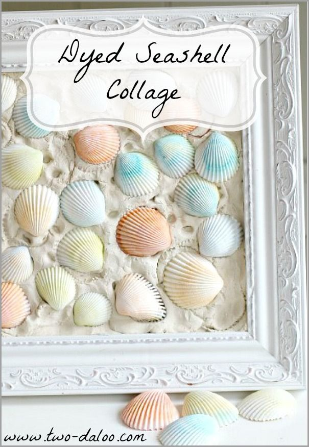 Make a fun and beautiful collage with a picture frame, air dry clay, and dyed sea shells. Perfect for Mother's Day!