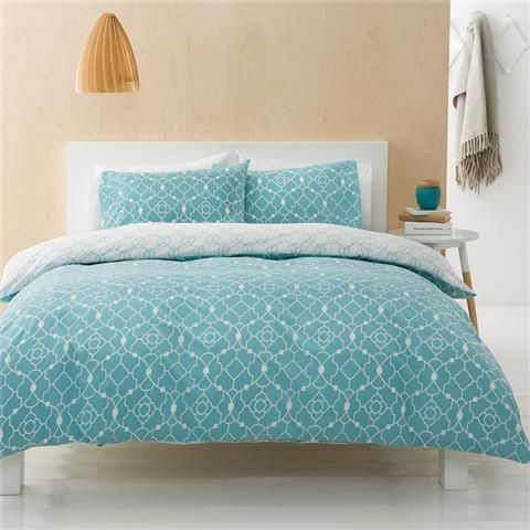 Teah Quilt Cover Set - Queen | Kmart  This one could be cute to add a little colour. Only $22!
