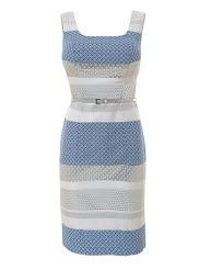 Silver Jacquard Shift Dress