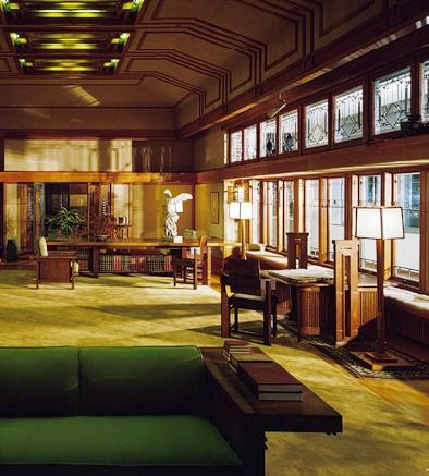 Living room francis w little house ii wayzata minnesota frank lloyd wright prairie style Frank lloyd wright the rooms interiors and decorative arts