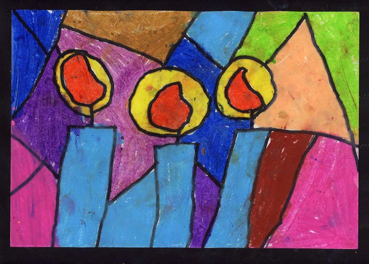 candle art for kids | Art Projects for Kids: Stained Glass Card