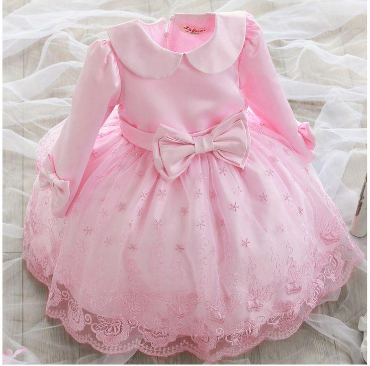$28.00 (Buy here: https://alitems.com/g/1e8d114494ebda23ff8b16525dc3e8/?i=5&ulp=https%3A%2F%2Fwww.aliexpress.com%2Fitem%2F2015-girls-wear-long-sleeved-dress-skirt-dress-Korean-children-princess-dress-children-wedding-dress%2F32590152253.html ) Free shipping 2016 girls bow lace long sleeved dress  children princess dress wedding dress for just $28.00