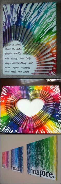 How To Make A Melted Crayon Wall Decor  http://theownerbuildernetwork.co/yc0p  Now you can hang your own canvas masterpiece with the use of crayons and a hair dryer. Use your imagination and create different shapes using different colors.   Isn't this a great project to do with the kids?