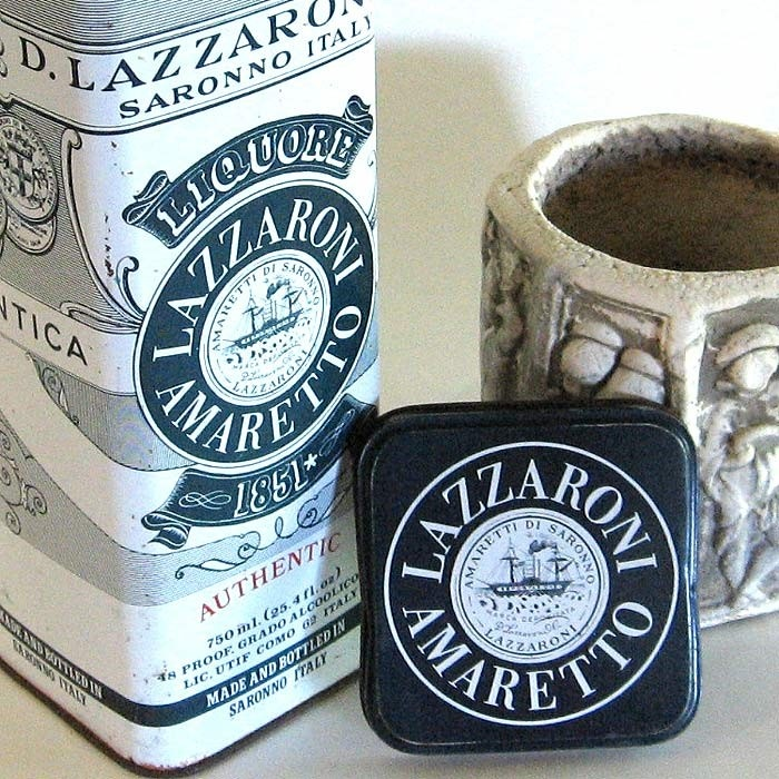 Vintage Italy Lazzaroni Amaretto Liqueur Tin Box Blue White. $12.00, via Etsy.