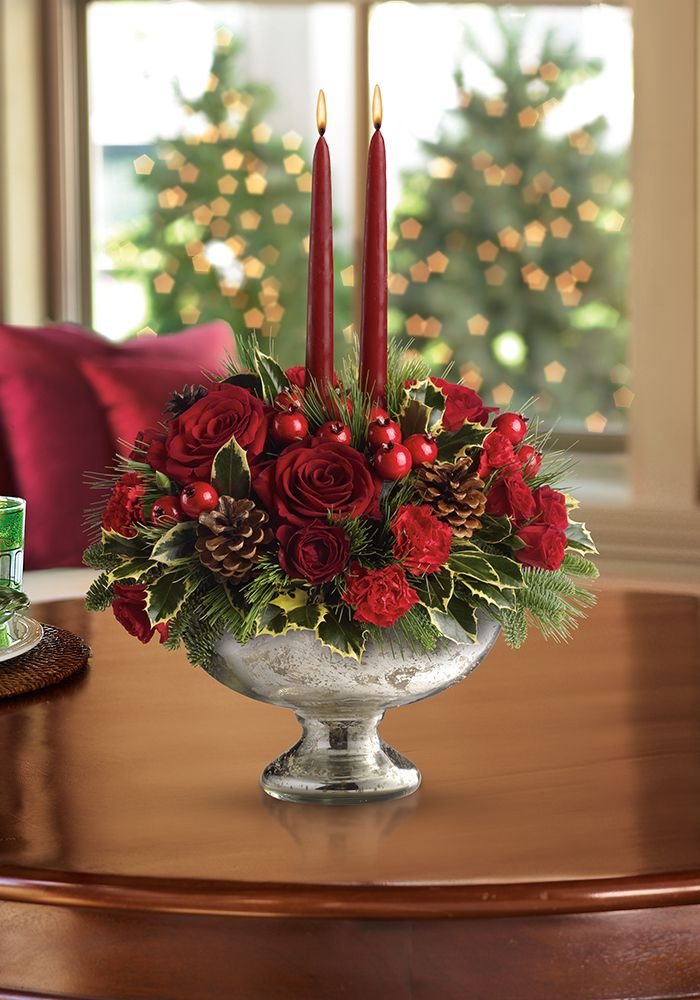 Beautifully chic holiday centerpiece - Teleflora's Mercury Glass Bowl Bouquet