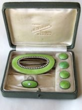 Marius Hammer Rare Cased Set Sterling Enamel Buckle Brooch and Buttons Norway