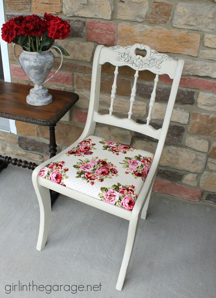 See how an old chair got a shabby chic makeover with Chalk Paint and vintage-inspired fabric.  girlinthegarage.net