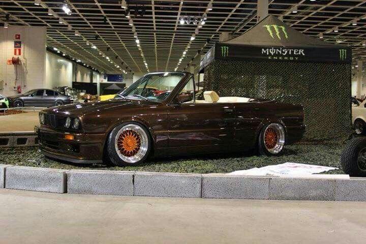 BMW E30 3 series cabrio brown slammed  e30 cabrio