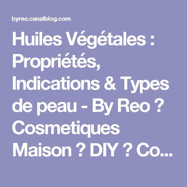 Huiles Végétales : Propriétés, Indications & Types de peau - By Reo ♥ Cosmetiques Maison ♥ DIY ♥ Conseils Beauté, Maquillage, Savons & Soins Naturels BIO ♥