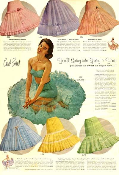 """Montgomery Ward, Carol Brent ad. To achieve that 1950's """"poodle skirt"""" silhouette, tulle crinolines like these were employed. As many as four or five could be worn, though one would provide a suitable improvement for """"everyday"""" casual."""
