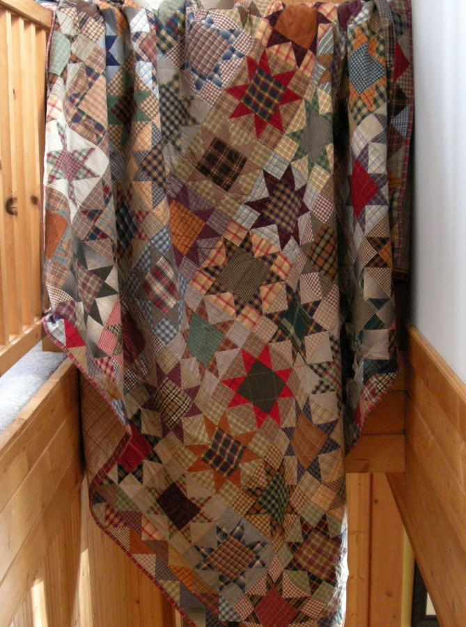 Plaid Stars quilt with 90 sawtooth star blocks, made by Quilty Folk. Inspired by Roberta Horton's 'Plaids and Stripes' book.