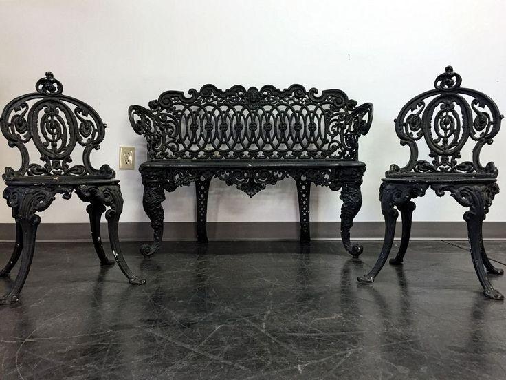 ADAMS NAVILLUS Antique Cast Iron Garden Furniture Set - Bench + 2 Chairs   Antiques,