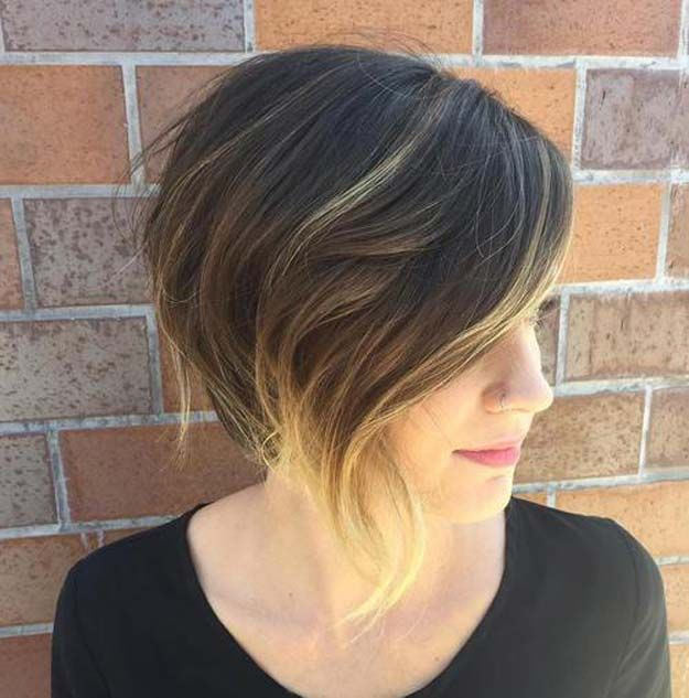 42 Balayage Ideas For Short Hair The Goddess Angled Bob Haircuts Asymmetrical Bob Haircuts Angled Bob Hairstyles