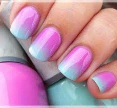 Pink & Light Blue Ombre Nail Art