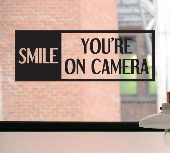 Smile youre on camera decal smile youre on camera sign smile youre on camera sticker business decal sticker window decal sign