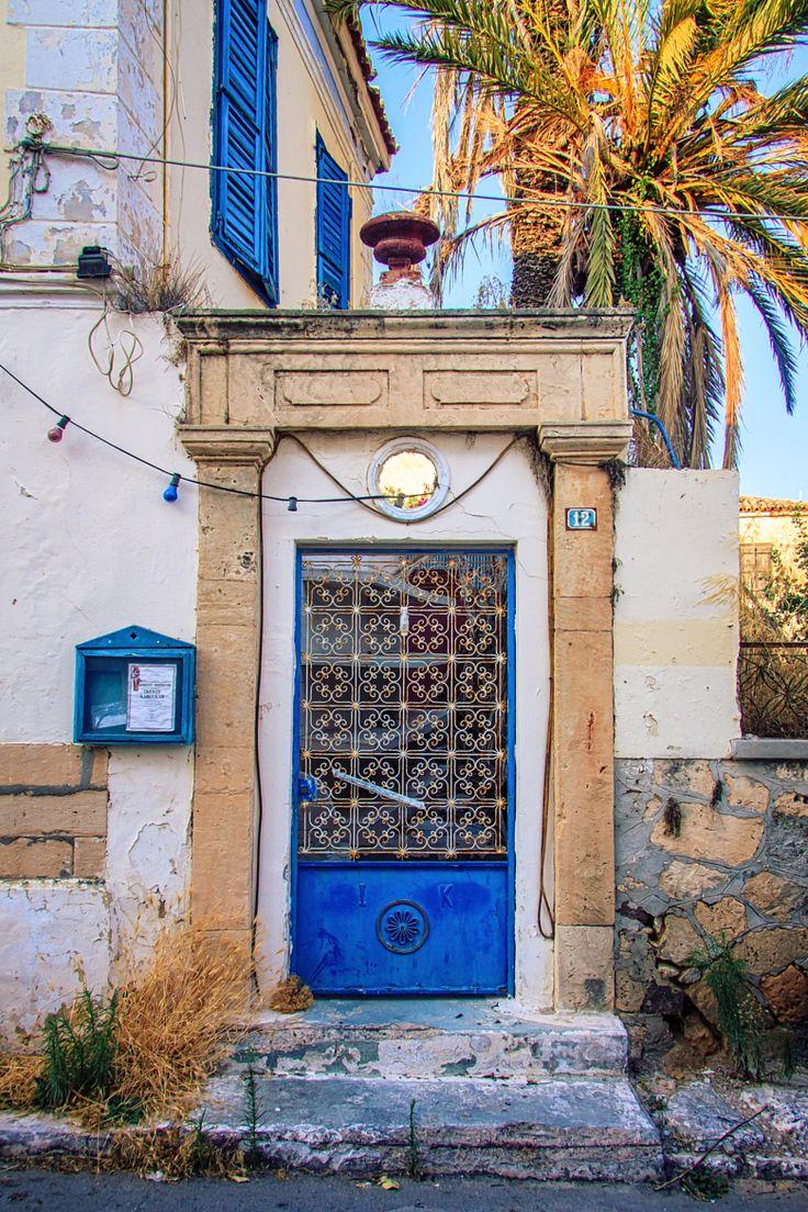 Old blue door in Aegina, Greece