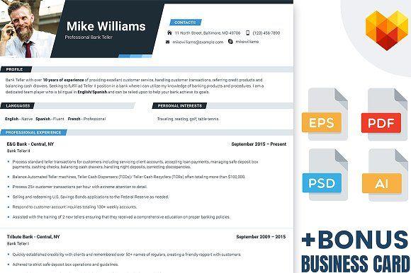 Resume Template For Bank Teller by MotoCMS on @creativemarket
