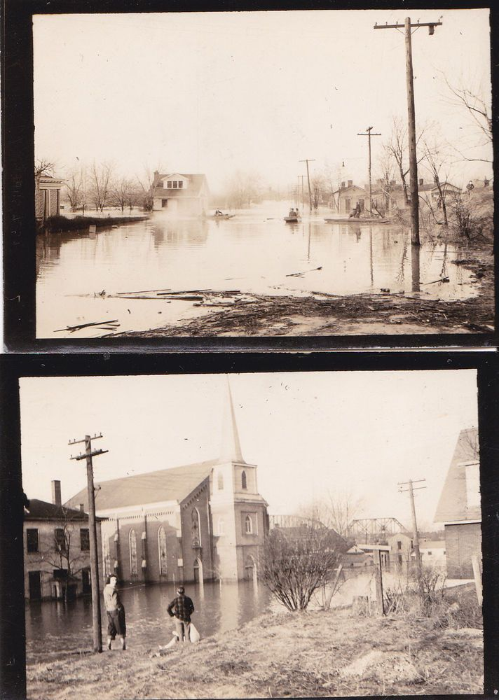 2 Photos 1937 Flood Louisville KY Kentucky