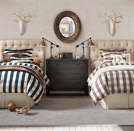 buffalo check duvets, deer busts, antique chest of drawers, and tufted headboards.  restoration hardware.