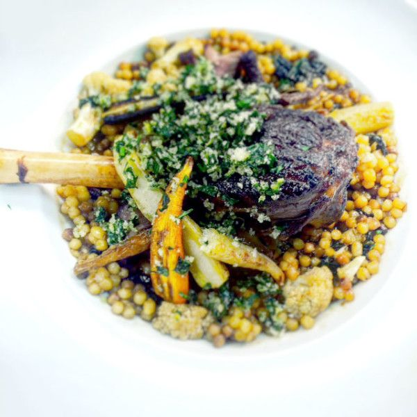 Braised Lamb Shanks with Roasted Cauliflower, Kale, Fregola and Citrus ...
