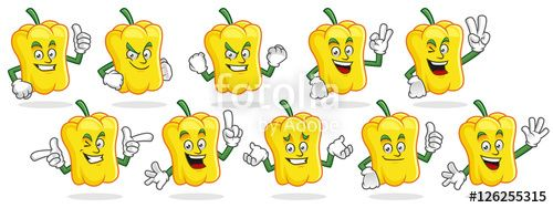 """Download the royalty-free vector """"sweet pepper mascot vector pack, bell pepper character set, vector of sweet pepper or bell pepper """" designed by ednal at the lowest price on Fotolia.com. Browse our cheap image bank online to find the perfect stock vector for your marketing projects!"""