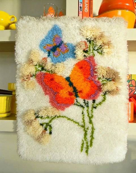 vintage butterfly latch hook rug by snugsnuggery on Etsy, $50.00