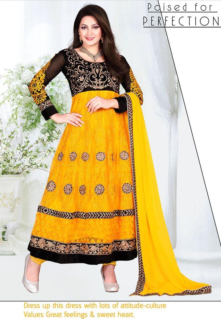 Gorgeous Yellow Color Net Designer Anarkali Suit - Rs. 2399.00