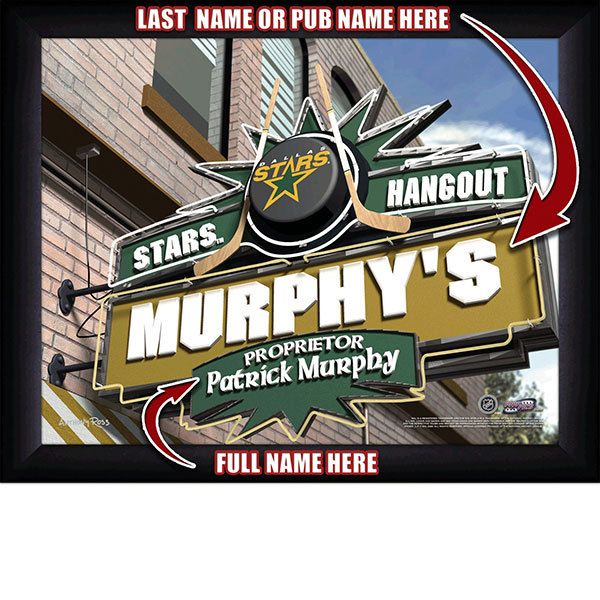 Dallas Stars NHL Hockey - Personalized Dallas Stars Pub Hangout Print / Picture. Now, with our Personalized NHL Sports Pub Hangout Print, your favorite fan can become the Proprietor of THEIR OWN Sports Bar! This exciting gift is perfect for any NHL hockey fan. Optional framing with mat is available. Perfect for gifts, rec room, man cave, bar, office, etc.  (http://www.oakhousesportsprints.com/dallas-stars-pub-hangout-print/)