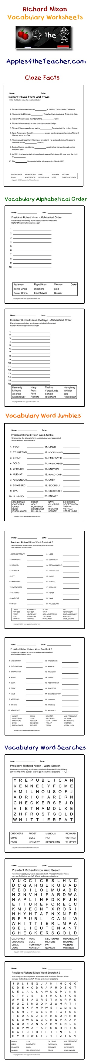Worksheets Cloze Worksheets 148 best cloze worksheets images on pinterest close president richard nixon interactive vocabulary words facts activity page alphabetical order worksheets