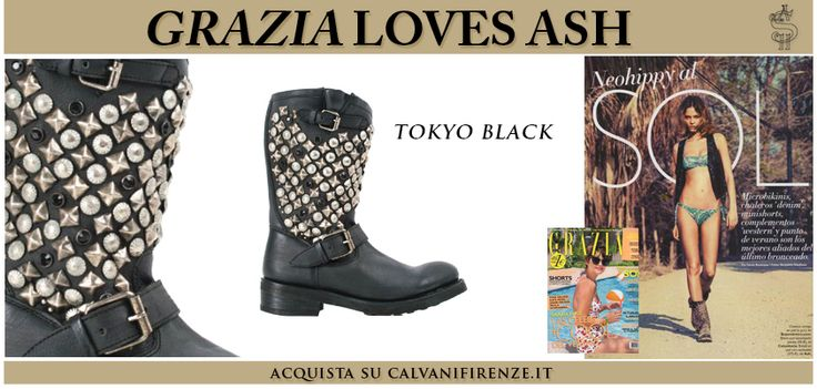 """#GraziaSpain presented #Ash's #nappa #boots """"Tokyo"""" in a wonderful summer #editorial!The ideal boots for a #neohippy look, even on the #beach!"""