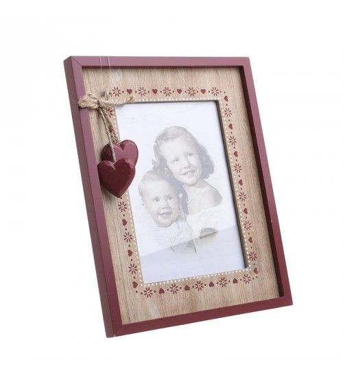 WOODEN PHOTO FRAME IN RED_NATURAL 13X18