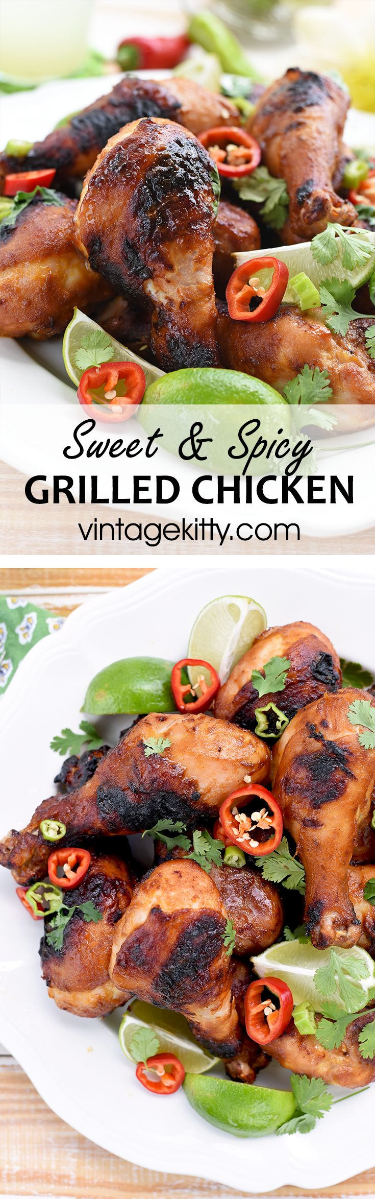 Sweet & Spicy Grilled Chicken Drumsticks #chickenrecipes #grilling #dinnerideas - Vintage Kitty