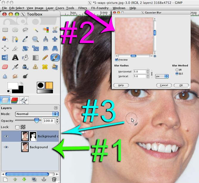 Gimp tutorial to touch up faces