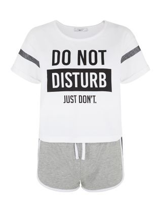 White Do Not Disturb Short Pyjama Set | New Look